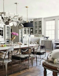 House of Windsor kitchen - marble table, eclectic chairs