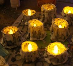 """DIY Paper Roll Candle Stubs by My Ghoul Friday. Perfect for Halloween, or don't """"age"""" them and use for the winter holiday season."""