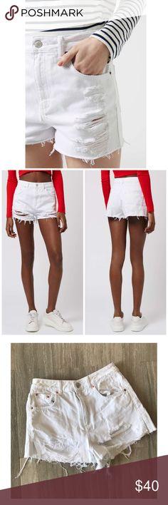 Topshop High Rise Moto Mom Distressed Shorts Super cute white distressed high rise shorts! New, never worn. Topshop Shorts