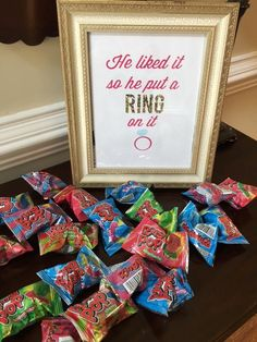 Ring Pop party favors--He Put A Ring On It!! #engagementparty #bridalshower #wedding #partyfavor