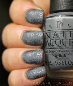 OPI Embrace the Gray with China Glaze Awaken, and Nubar matte topcoat #stamping