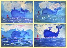 кит, рисунок, картина, дети, живопись, море, гуашь