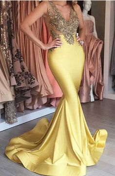 V-neck Gold Prom Dresses,Mermaid Prom Dresses,Beading Prom Dress,Long #prom #promdress #dress #eveningdress #evening #fashion #love #shopping #art #dress #women #mermaid #SEXY #SexyGirl #PromDresses