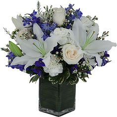 funeral flowers arrangements   Sky   White and Blue Sympathy Flowers   Canada Flowers