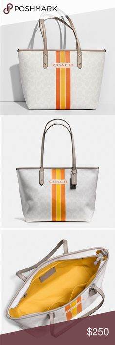 "Coach | NWT Varsity Stripe City Zip Tote Signature Zip Tote in Varsity Stripe. Color: Silver/Chalk Orange. Signature coated canvas Inside zip, cell phone and multifunction pockets Dogleash closure, fabric lining Handles with 9 1/2"" drop 17 3/4"" (L) x 10 1/2"" (H) x 5 1/2"" (W). Brand spankin' new, still in packaging😊 Coach Bags Totes"