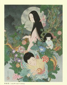 "senjukannon: """"Grass Labyrinth"" (草迷宮; Kusa Meikyu), illustration by Takato Yamamoto for Kyōka Izumi's book by the same name. """