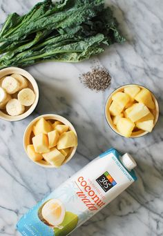 Simple Summer Smoothies: kale, banana, pineapple, mango, and coconut water #theeverygirl