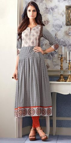 Likeable Grey Cotton Print Kurti.
