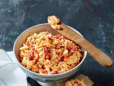 Our Favorite Pimiento Cheese Recipe | This top-rated pimiento cheese is great to serve as a dip or to use for a sandwich filling. Stirring in chopped pecans adds great flavor and texture. You can make this crowd-pleasing cheese spread in minutes – but every step counts, so no fudging!