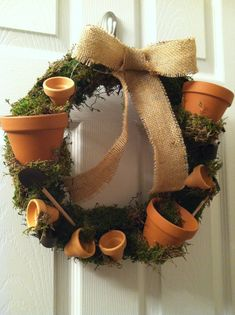 "16"" Tumbling Pots  Wreath, Flower Pot Wreath, Potting Wreath, Moss Wreath on Etsy, $55.00"