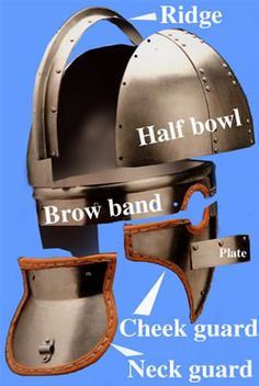 Exploded view of a ridge helm