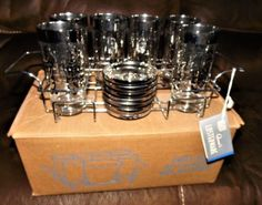 Queen's Lusterware Vintage Glasses, Coasters, Caddy Roman Spartan Design NOS Vintage Glassware, Milk Glass, Barware, Coasters, Conditioner, Chrome, Roman, Glasses, Unique Jewelry