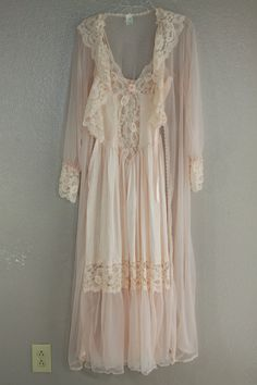 romantic peachy pink lingerie slip and robe set by lerobot on Etsy