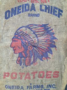 Vintage Burlap Potato Sack Indian Chief Logo by MalphnRandys, $19.99