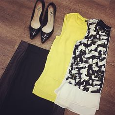 """""""<><><> Sears Woodfield Metaphor Collection=Big Hit @sears @searsstyle @shopyourway  #fashion #style #stylish #style4days #blackandwhite #yellow #shopping…"""""""