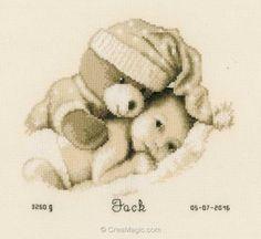 Tableau prénom à broder au point de croix Vervaco bébé avec nounours