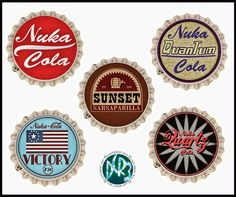 Here are new bottle cap designs I created to go with the Fallout 3 and New Vegas soda bottles I made. Link for My Fallout 3 & New Vegas Soda Bottles. Fallout 3 and New Vegas bottle caps Fallout Bottle Caps, Fallout 3, Nuka Cola Label, Nuka Cola Caps, Nuka Cola Bottle, Fallout 4 Secrets, Nuka Cola Quantum, Fallout Cosplay, Patches