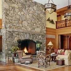 The river stones in the rugged stone fireplace designs pictured below were also skillfully arranged to fit together like the pieces of a puzzle. Description from standout-fireplace-designs.com. I searched for this on bing.com/images