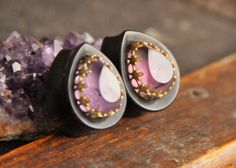 Amethyst Inlay Teardrops by OaksAesthetics, $105.00. That crown setting. <3. A pair of these for winter wear would be amazing.