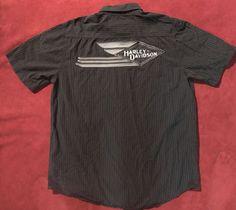 19ce0e466e Harley Davidson Flying Diamond Garage Shirt Mens sz M Black White Pin Stripe
