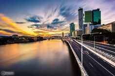 Sunset over Brisbane City #Brisbane #river #brisbanecity #sunset   Image Credit: Robert Makol Photography.