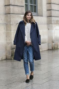 If you're going for a sweeter vibe, pair your polka dot print with a trench and loafers.