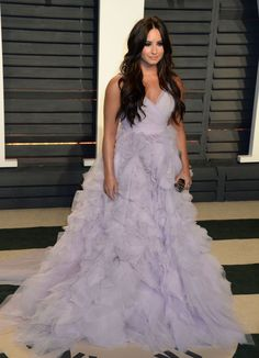 Demi Lovato opts for a princess style lilac prom dress for the Vanity Fair party.