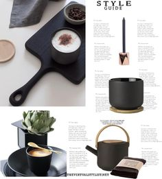 B eautiful black tableware pieces here shown in pictures and a mood board. Depending on your style, black can be a great option to use for your home. Interior Decorating, Interior Design, Style Guides, House Design, Tableware, Interiors, Mood, Black, Kitchen
