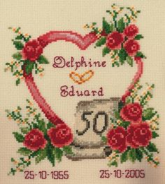 Golden 50th Wedding Anniversary Heart Cross Stitch Kit £20.95 | Past Impressions | Vervaco