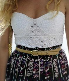 high wasted skirt and strapless top