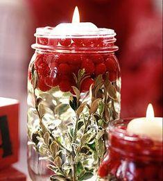 decorative candles: mason jar, fresh herbs, and cranberres! #diycandleboxmasonjars (diy candle box mason jars)