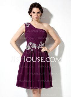 Homecoming Dresses - $128.99 - A-Line/Princess One-Shoulder Knee-Length Chiffon Homecoming Dress With Ruffle Beading Appliques (022009063) http://jjshouse.com/A-Line-Princess-One-Shoulder-Knee-Length-Chiffon-Homecoming-Dress-With-Ruffle-Beading-Appliques-022009063-g9063