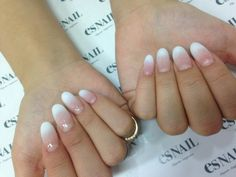 nude white ombre, maybe not so long and round...