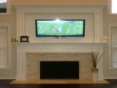 Tv Over Fireplace - Design photos, ideas and inspiration. Amazing gallery of interior design and decorating ideas of Tv Over Fireplace in bedrooms, living rooms, decks/patios, dens/libraries/offices by elite interior designers. Tv Over Fireplace, Fireplace Redo, Fireplace Remodel, Fireplace Surrounds, Fireplace Design, Fireplace Ideas, Fireplace Molding, Moulding, Mantle Ideas