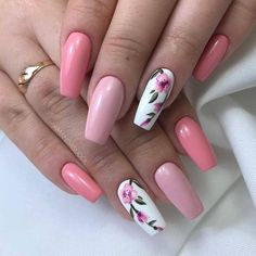Sweet coffin pink nails accent casket floral nail f . Sweet coffin pink nails accent coffin floral nail for spring 2019 # feather nails … Pink Nail Art, Cute Acrylic Nails, Acrylic Nail Designs, Nail Art Designs, Gel Nails, Nail Nail, Nails Design, Floral Nail Art, Feather Nail Designs