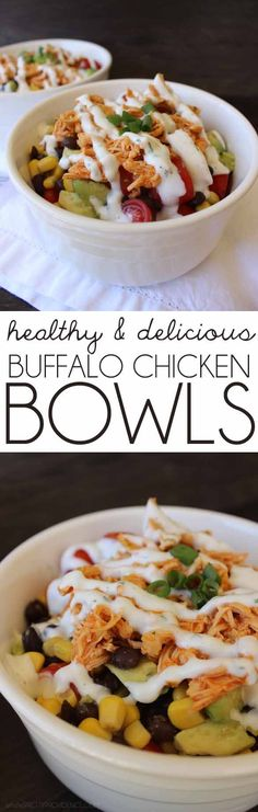 Buffalo Chicken Bowls I literally eat this recipe twice a week since I've started my healthy lifestyle! These healthy buffalo chicken bowls are to die for good!I literally eat this recipe twice a week since I've started my healthy lifestyle! These healthy Healthy Cooking, Healthy Snacks, Healthy Eating, Cooking Recipes, Easy Recipes, Free Recipes, Dinner Recipes, Eating Clean, Dinner Ideas
