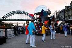 A band playing on Newcastle Quayside during the opening ceremony of the Great Exhibition of the North.