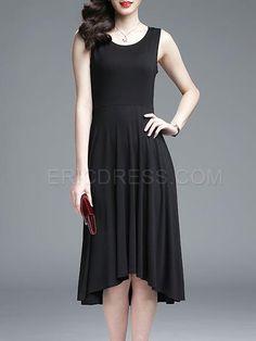 Ericdress Soild Color Asymmetric Sleeveness Casual Dress 2