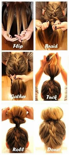 How to Do The Upside Down French Braid Bun #braids_tutorial
