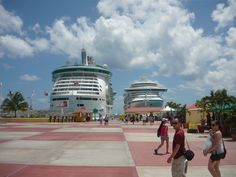 Royal Caribbean Ship/Liberty of the Seas on the left!! Yup, the big one!