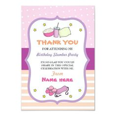 Shop Thank You Cards Slumber Party Birthday Sleep Over created by WOWWOWMEOW. Slumber Party Birthday, Sleepover Party, Slumber Parties, Teen Party Games, Sleepover Activities, Sweet 16 Gifts, Neon Party, Sweet 16 Parties, Cozy Mysteries
