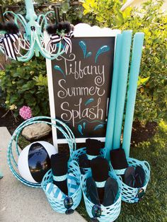 "Tiffany Theme Pool Party {Glam Summer Splash!} I can't wait to throw my princess ""kick off to summer"" parties! :)"