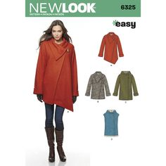 Misses' easy coat can be made with a hood or with a shawl collar and asymmetric front in two lengths. Pattern also includes hooded vest. All feature side pockets. New Look sewing pattern.