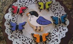 Butterfly and bird cookies