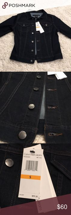 Calvin Klein Dark Denim Jacket This jacket is perfect! Lightweight and comfortable,m without compromising the jean jacket feel!  Calvin Klein - new with tags. Size small. Calvin Klein Jackets & Coats Jean Jackets
