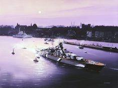 Ivan Berryman sobre el Bismarck  en Hamburgo, con camuflaje Báltico y el Schleswig-Holstein atracado al fondo.