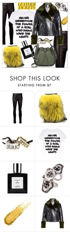 """Leather jacket rocks"" by j477 ❤ liked on Polyvore featuring Helmut Lang, Lust For Life, Hot Topic, Alice + Olivia, WithChic, Shrimps and Valentino"