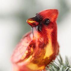 Ornaments: Fancy Food, Garden + Veggies, Woodland Glass, and Pinecones - Terrain Cardinal Glass, Cardinal Ornaments, Christmas Past, Holiday Tree, Christmas Ornaments, Globe Ornament, Fabric Ornaments, Outdoor Garden Furniture, Beautiful Christmas