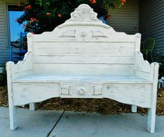 repurposed bed frame bench by booth 121