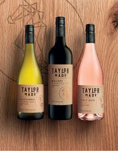 """Naming, Brand Identity and Packaging Design Uniquely crafted wines from the Taylors family. Aimed at a younger audience, a new name """"Taylor Made"""" and brand identity was created, maintaining a pivotal link to the Taylors wine family and craft wine making. Wine Bottle Design, Wine Label Design, Wine Bottle Labels, Beer Labels, Bottle Opener, Barolo Wine, Champagne, Wine Poster, Organic Wine"""